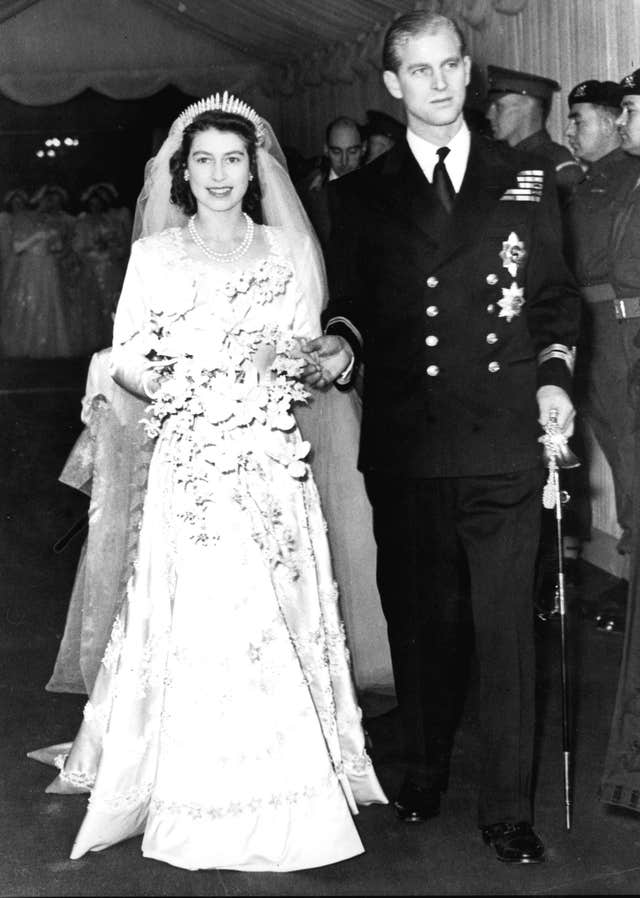 The Queen and Duke of Edinburgh on their wedding day. PA Photos