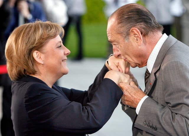 Angela Merkel with Jacques Chirac in Berlin in 2007