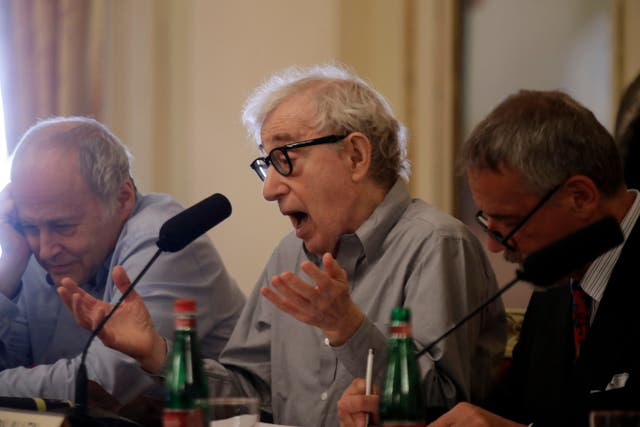 Woody Allen speaks at a press conference at La Scala