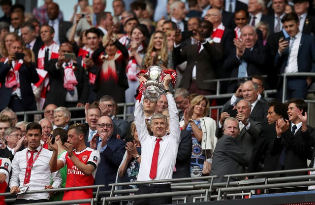 Arsenal's FA Cup final win over Chelsea in 2017 saw Arsene Wenger lift the trophy for a record seventh time.