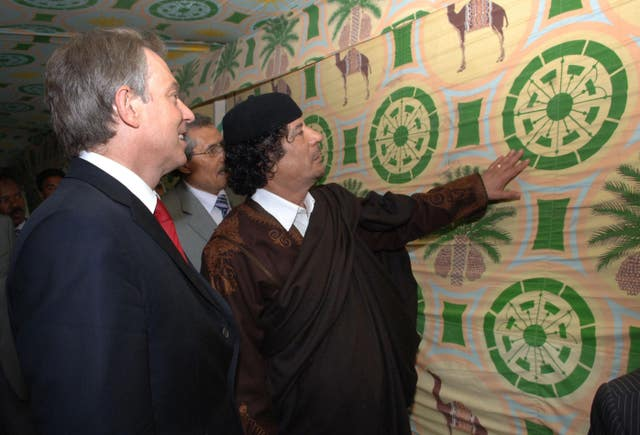 Former prime minister Tony Blair met Muammar Gaddafi at his desert base near Tripoli in 2004