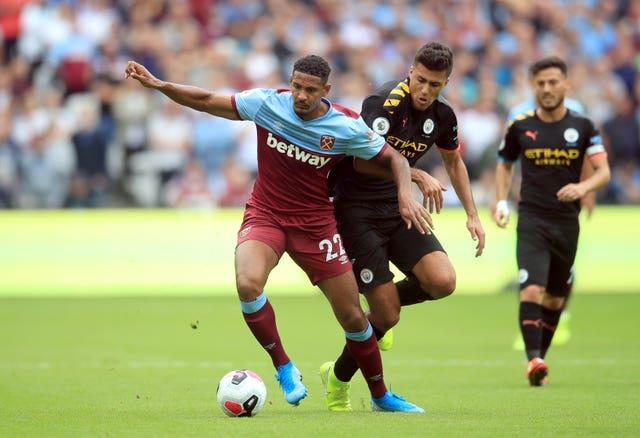 Rodri (centre) impressed against West Ham
