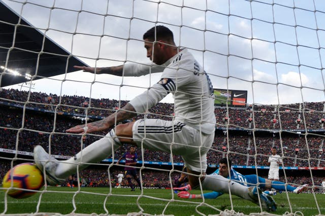 Ramos and Real goalkeeper Thibaut Courtois fail to keep out Philippe Coutinho's 11th-minute strike