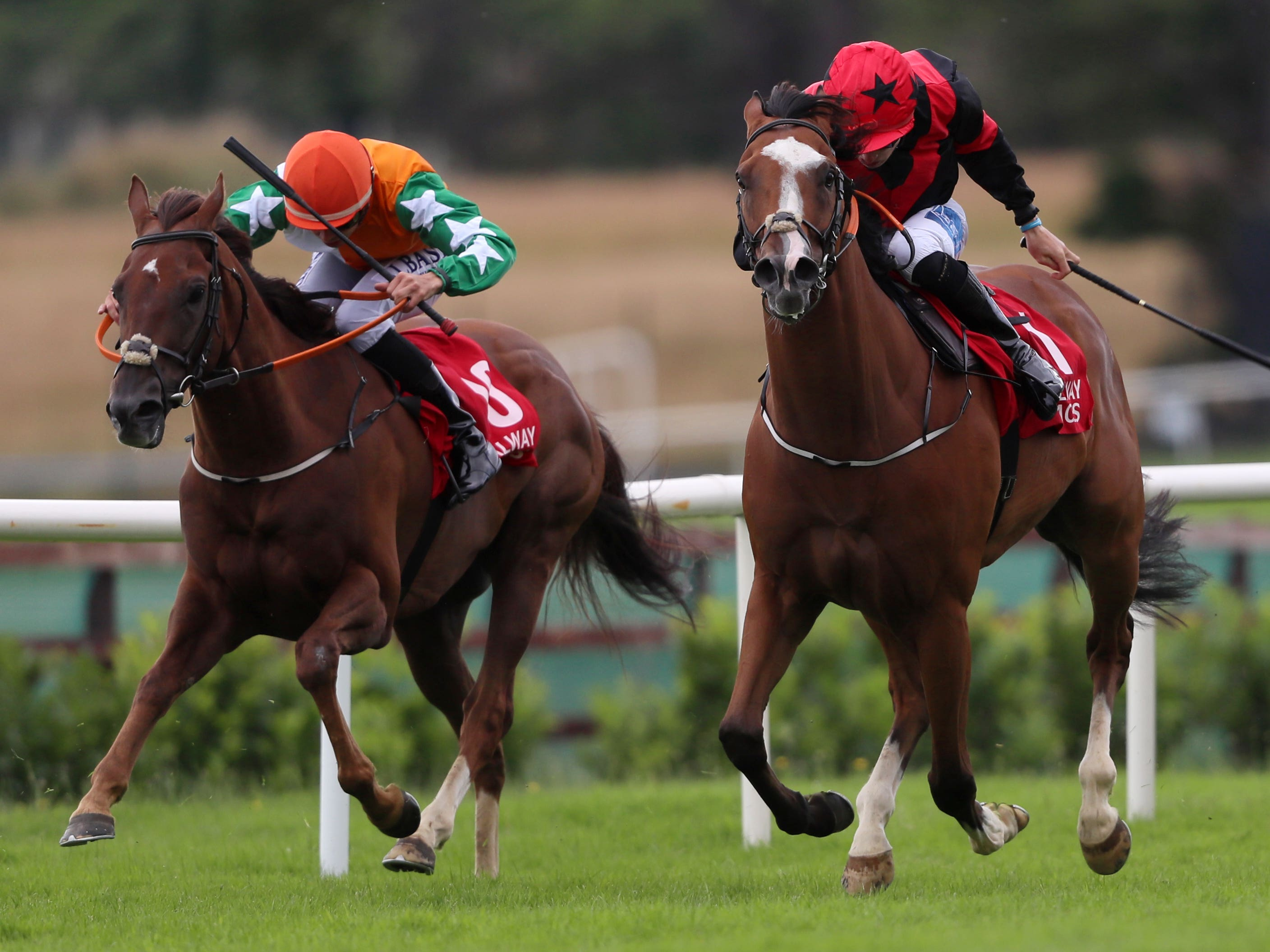Current Option (right) winning the 'Ahonoora' Handicap at Galway (Brian Lawless/PA)