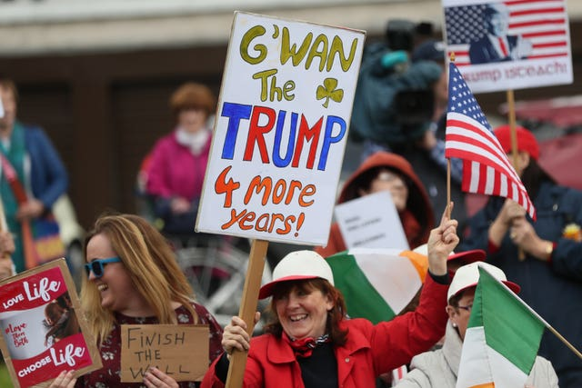 Supporters of US President Donald Trump gather near Shannon Airport