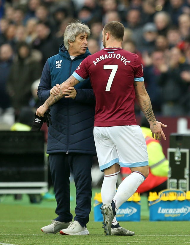 Marko Arnautovic was taken off after only 20 minutes against Birmingham (Steven Paston/PA).
