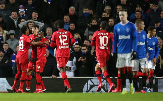 Kai Havertz, who has been linked with a move to Chelsea, scored for Bayer Leverkusen against Rangers