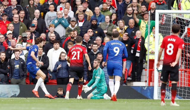 Marcos Alonso, left, was able to level for Chelsea after a mistake from David De Gea, centre (Martin Rickett/PA)