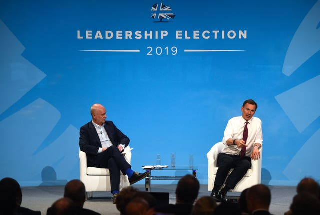 Jeremy Hunt during a Tory leadership hustings in London