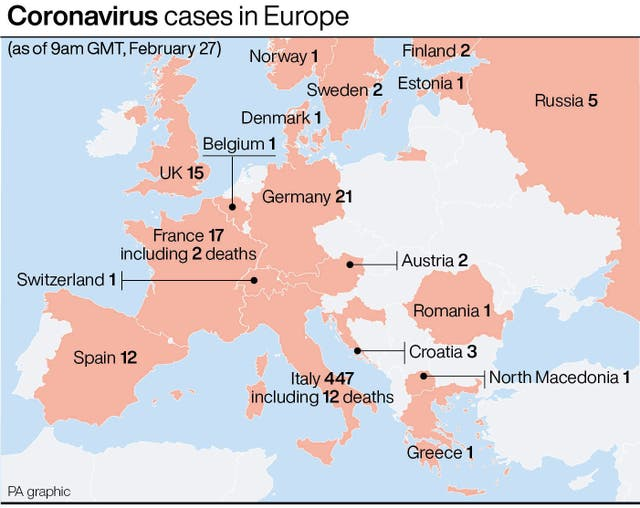 PA infographic about coronavirus cases in Europe