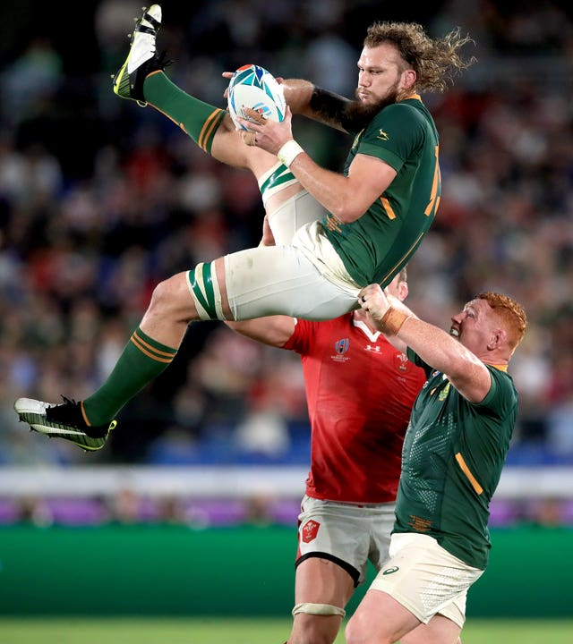 South Africa's RG Snyman catches the ball