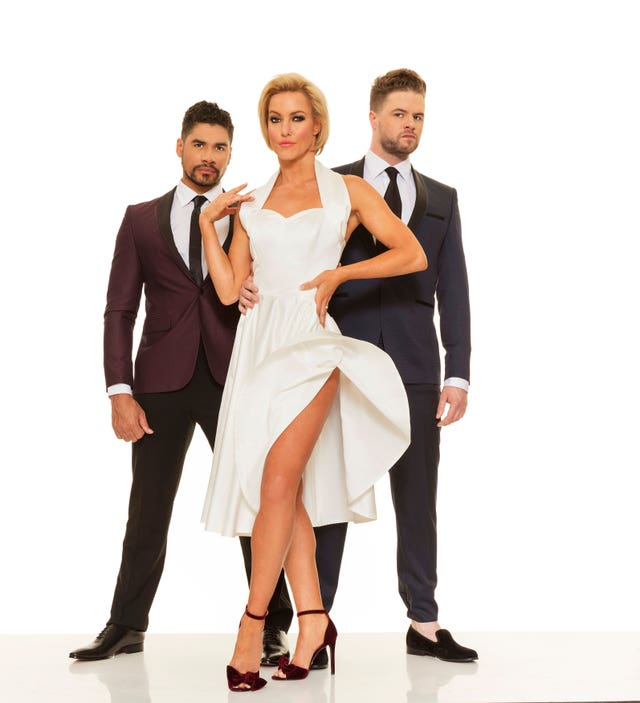 Natalie Lowe with Louis Smith (left) and Jay McGuiness who will tour in the new show, Rip It Up