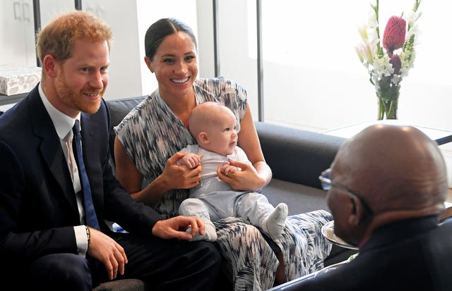 The Duke and Duchess of Sussex with their baby son Archie in South Africa