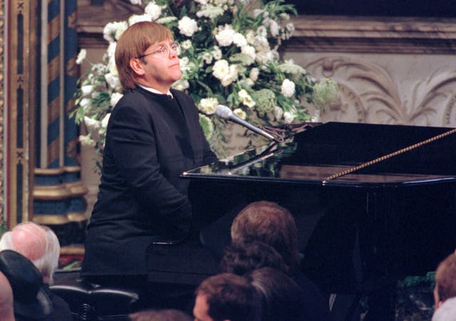 Sir Elton John performing at Diana's funeral (PA)