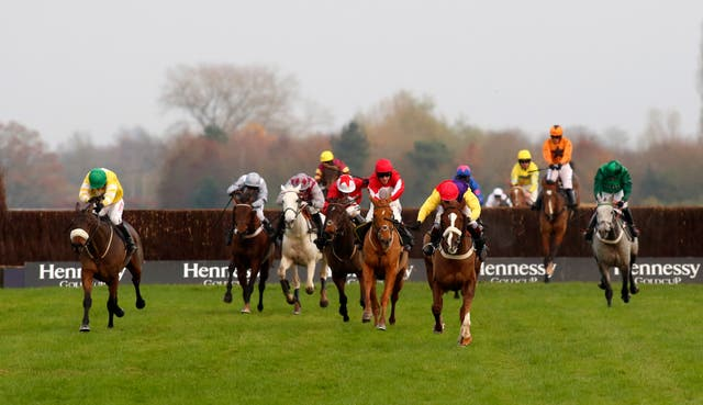 Double Ross (red cap) finished third behind Native River in last season's Hennessy Gold Cup
