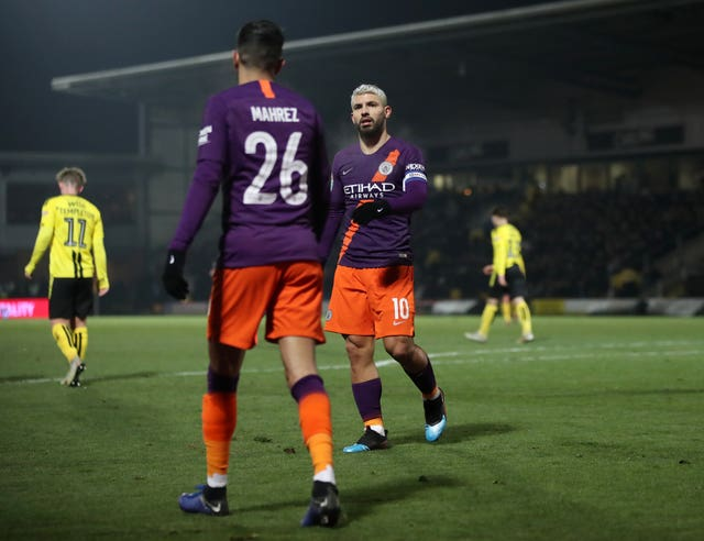 Sergio Aguero (right) scored the only goal at the Pirelli Stadium