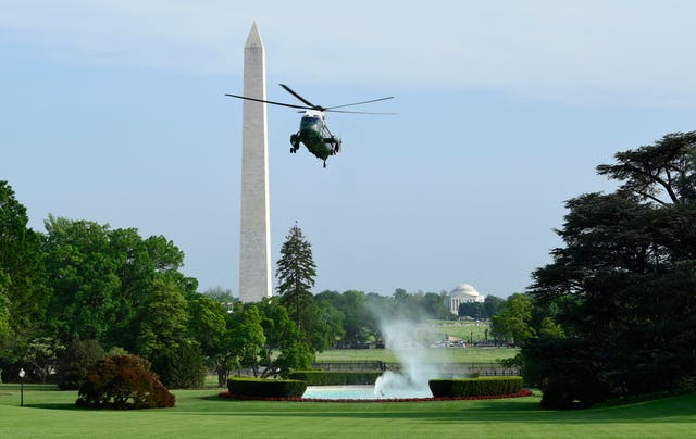 Marine One, with President Donald Trump on board, returns to the White House after a visit to Walter Reed National Medical Centre where the first lady is being treated (Susan Walsh/PA)