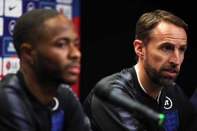 England manager Gareth Southgate (right) and Raheem Sterling speak to the media ahead of Friday's match in Prague