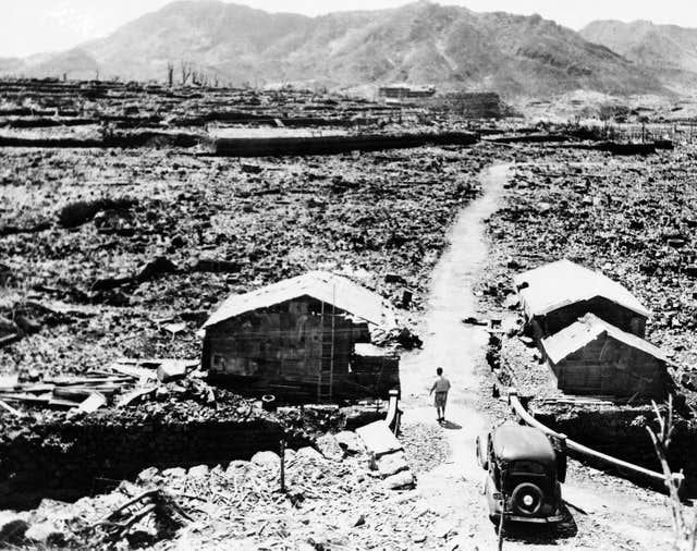 Shacks made from scraps of debris from buildings that were levelled in the aftermath of the atomic bomb that was dropped over Nagasaki