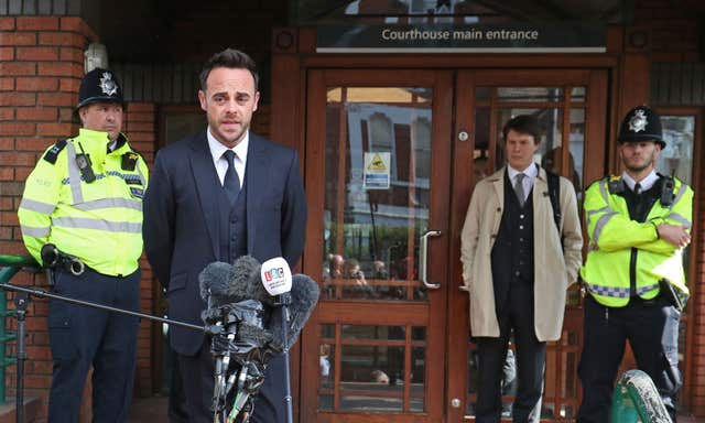 TV presenter Ant McPartlin speaking outside The Court House in Wimbledon, London, after being fined £86,000 at Wimbledon Magistrates' Court after admitting driving while more than twice the legal alcohol limit (Jonathan Brady/PA)