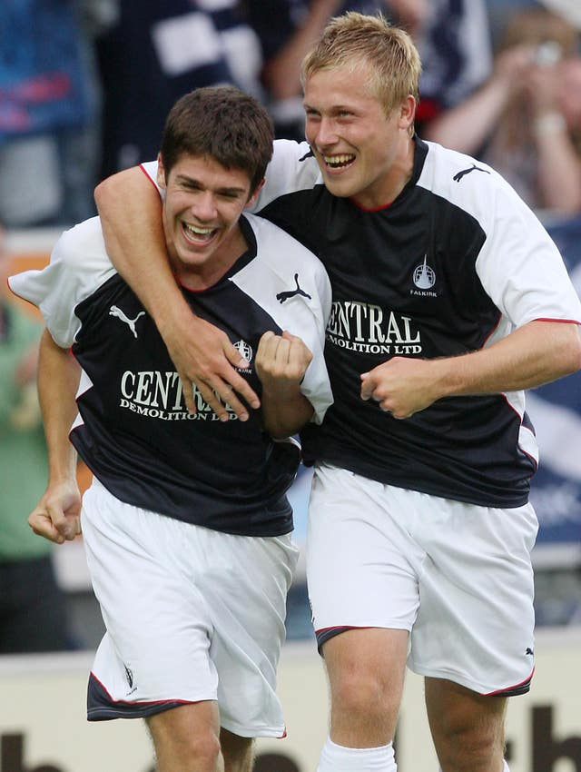 Falkirk's Ryan Flynn (left) scored the Bairns' first ever European goal but it was not enough to see off FC Vaduz