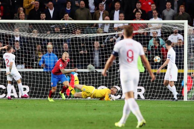 Czech Republic's Zdenek Ondrasek (second left) celebrates scoring his side's second goal against England in October