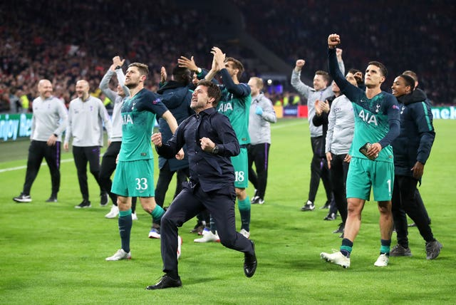 Pochettino (centre) famously guided Spurs to the final with victory over Ajax two years ago