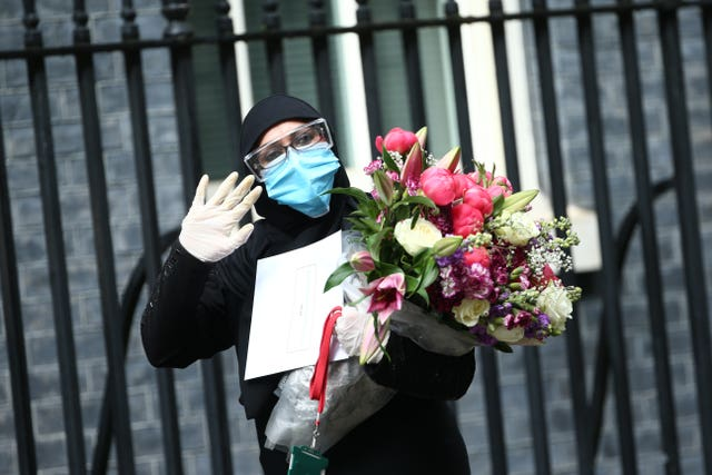 A bouquet of flowers is delivered to Downing Street on behalf of Prime Minister of Pakistan Imran Khan, after it was announced that Carrie Symonds had given birth to a baby boy