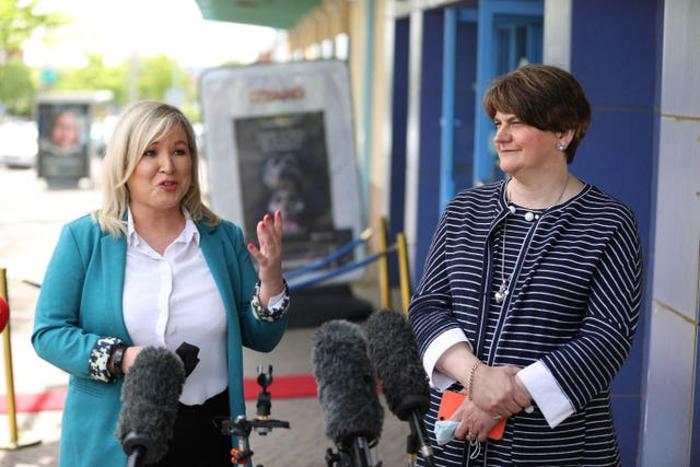 First Minister Arlene Foster (right) and Deputy First Minister Michelle O'Neill (Liam McBurnbey/PA)