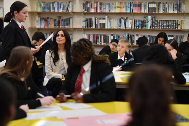 Duchess of Sussex visit to Robert Clack school