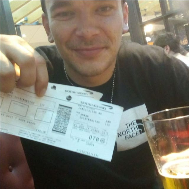 Facebook post of Aidan James in August 2017 of himself holding plane tickets