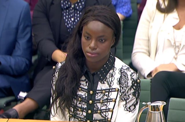 Eniola Aluko gives evidence to MPs in 2017