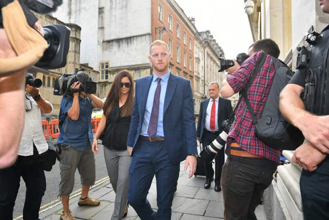 Ben Stokes arrives at Bristol Crown Court.