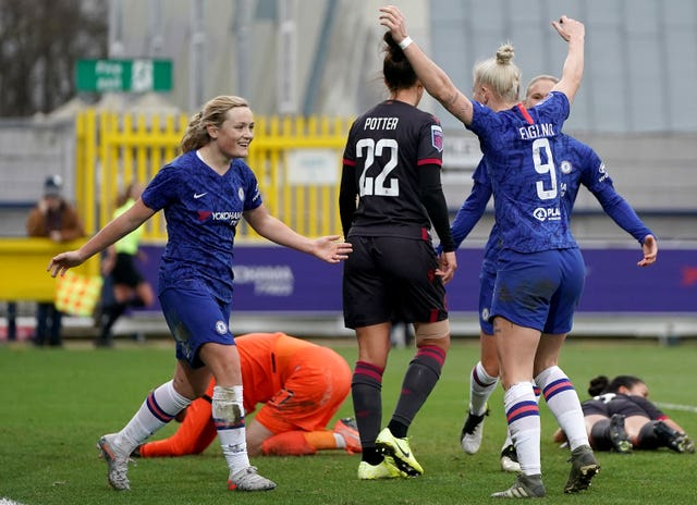 Erin Cuthbert, left, celebrates with fellow goalscorer Bethany England during Chelsea's 3-1 WSL win over Reading