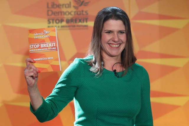 Liberal Democrats leader Jo Swinson during the launch of her party's manifesto