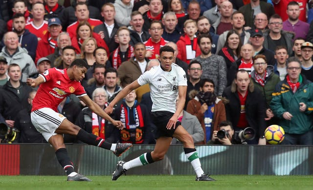 Marcus Rashford scored twice as United beat Liverpool 2-1 in March 2018.