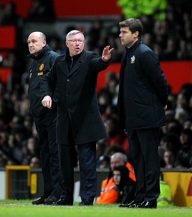 Pochettino (right) first faced United in just his second match as Southampton manager