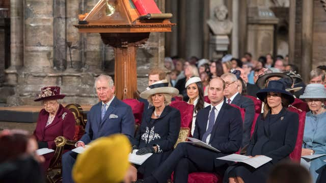 Meghan Markle attending her first official engagement with the Queen and senior royals at Westminster Abbey (Paul Grover/Daily Telegraph/PA)