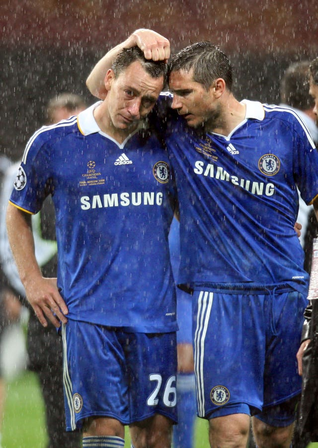 Chelsea's John Terry is consoled by Frank Lampard (PA)