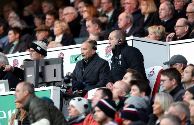 England's head coach Eddie Jones, left, would have been concerned at half-time