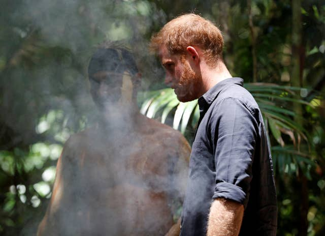 Harry during a smoking ceremony