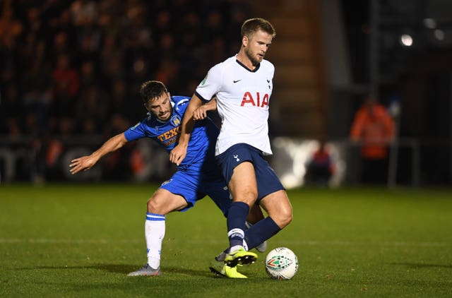 Luke Gambin and Tottenham's Eric Dier battle for the ball