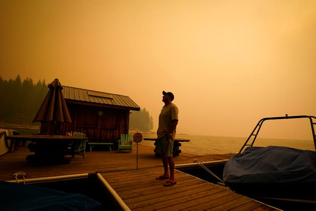 A business owner, who declined to give his name, looks up at the smoke-covered sky from the Creek Fire in Shaver Lake, California