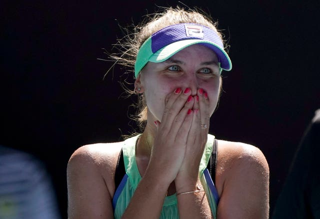 Kenin reacts after beating Ashleigh Barty in the semi-finals