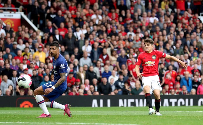 Daniel James scores Manchester United's fourth goal