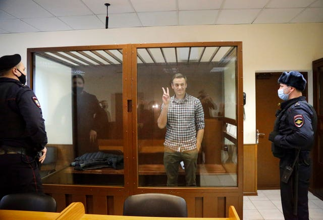 Opposition leader Alexei Navalny stands in a cage in the Babuskinsky District Court in Moscow
