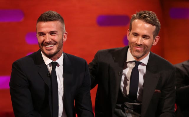 avid Beckham (left) and Ryan Reynolds on the Graham Norton Show (PA Images on behalf of So TV)