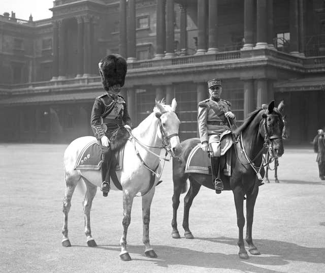 King George V with Marshal Foch at the Trooping the Colour (PA)