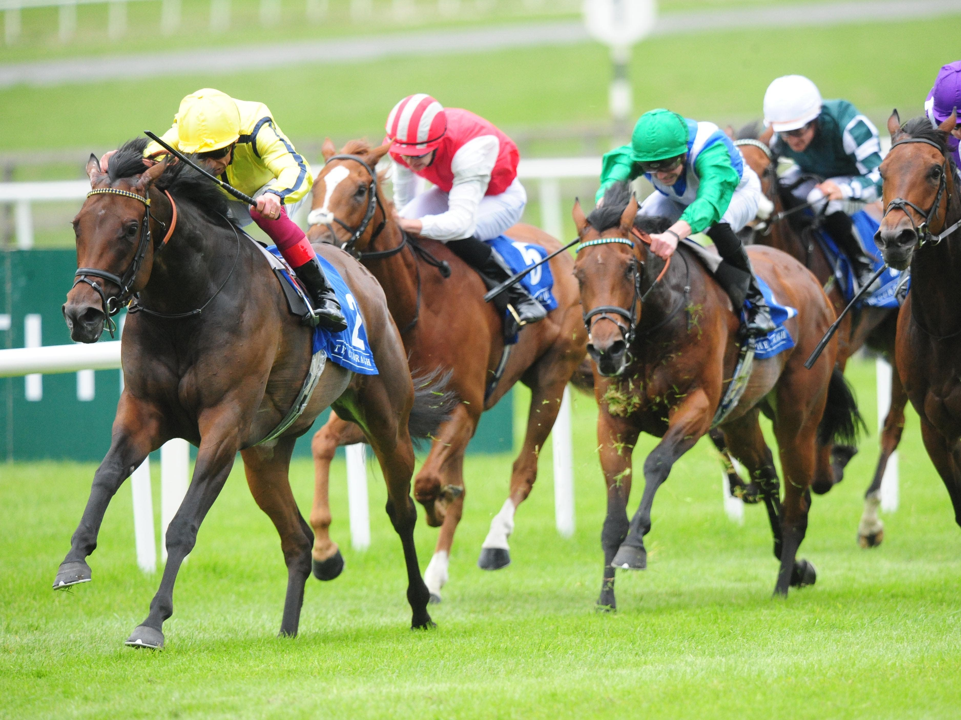 Beshaayir (left) will attempt to open her Group One account at Newmarket following this success at the Curragh (PA)
