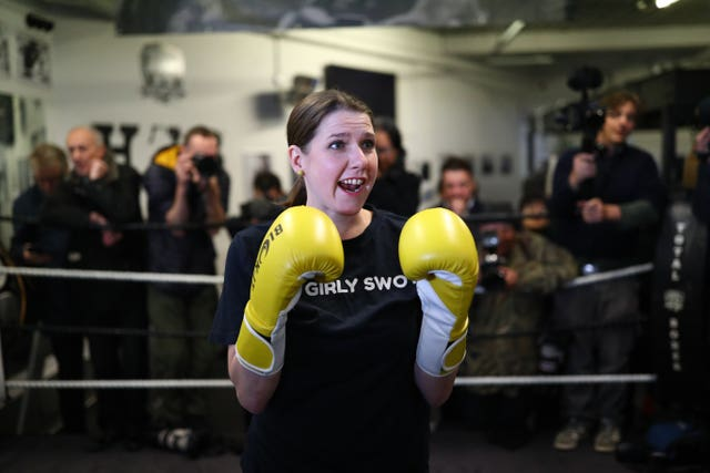 Liberal Democrat leader Jo Swinson visits Total Boxer, a specialised boxing gym which offers training to young people as a means of keeping them away from violence, in Crouch End, London